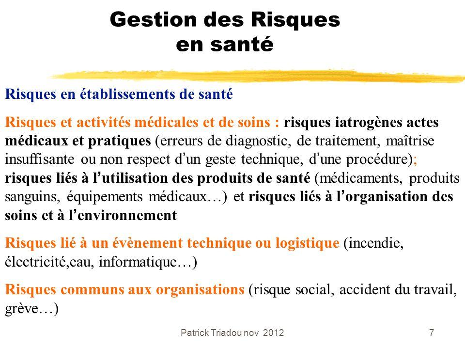Patrick Triadou nov 20127 Gestion des Risques en santé Risques en établissements de santé Risques et activités médicales et de soins : risques iatrogè