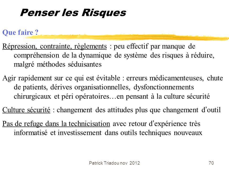 Patrick Triadou nov 201270 Penser les Risques Que faire ? Répression, contrainte, règlements : peu effectif par manque de compréhension de la dynamiqu