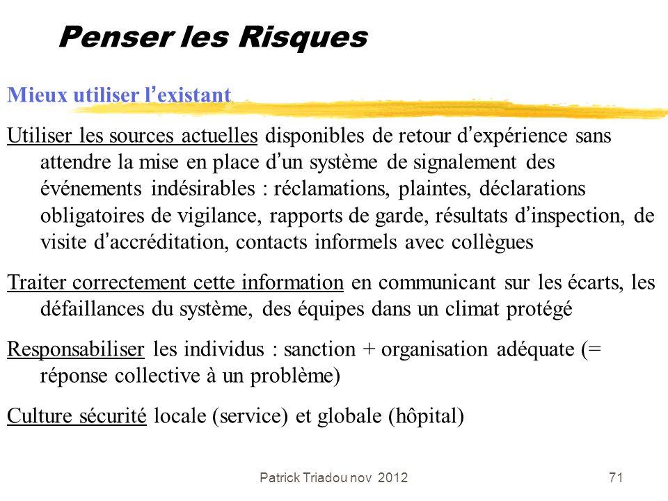 Patrick Triadou nov 201271 Penser les Risques Mieux utiliser lexistant Utiliser les sources actuelles disponibles de retour dexpérience sans attendre
