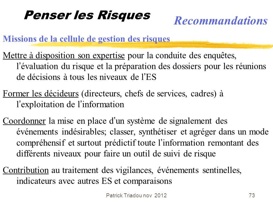 Patrick Triadou nov 201273 Penser les Risques Missions de la cellule de gestion des risques Mettre à disposition son expertise pour la conduite des en