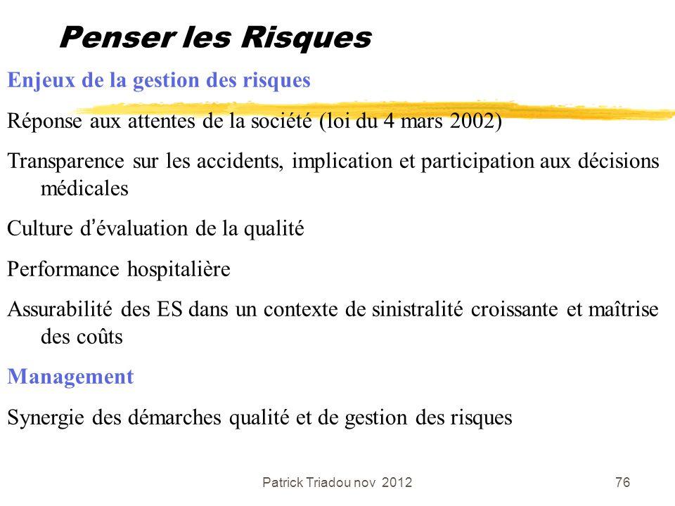 Patrick Triadou nov 201276 Penser les Risques Enjeux de la gestion des risques Réponse aux attentes de la société (loi du 4 mars 2002) Transparence su