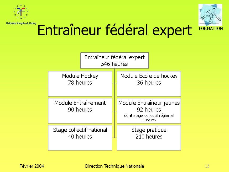 FORMATION Février 2004Direction Technique Nationale13 Entraîneur fédéral expert
