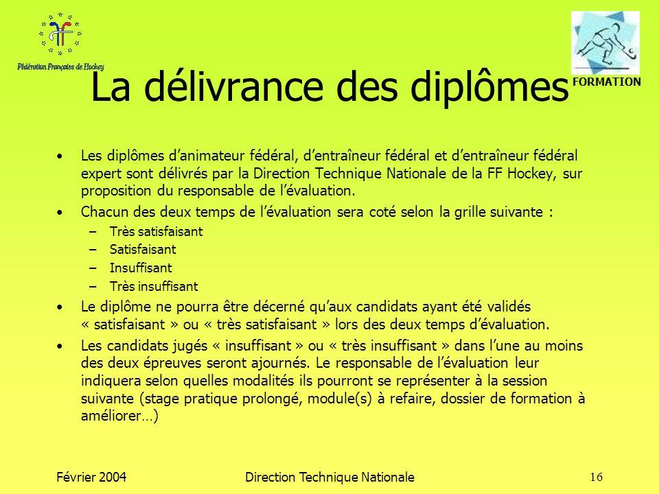 FORMATION Février 2004Direction Technique Nationale16 La délivrance des diplômes Les diplômes danimateur fédéral, dentraîneur fédéral et dentraîneur f