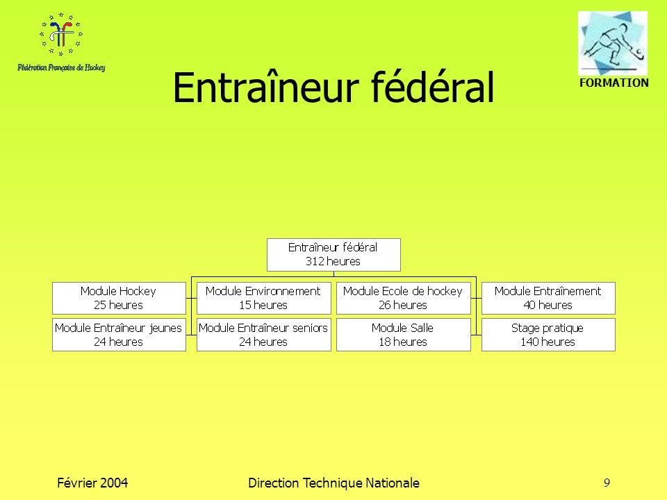 FORMATION Février 2004Direction Technique Nationale9 Entraîneur fédéral