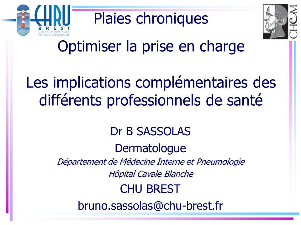 Plaies chroniques Optimiser la prise en charge Les implications complémentaires des différents professionnels de santé Dr B SASSOLAS Dermatologue Dépa