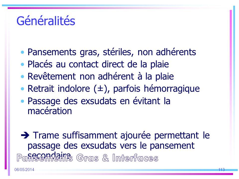 Généralités Pansements gras, stériles, non adhérents Placés au contact direct de la plaie Revêtement non adhérent à la plaie Retrait indolore (±), par