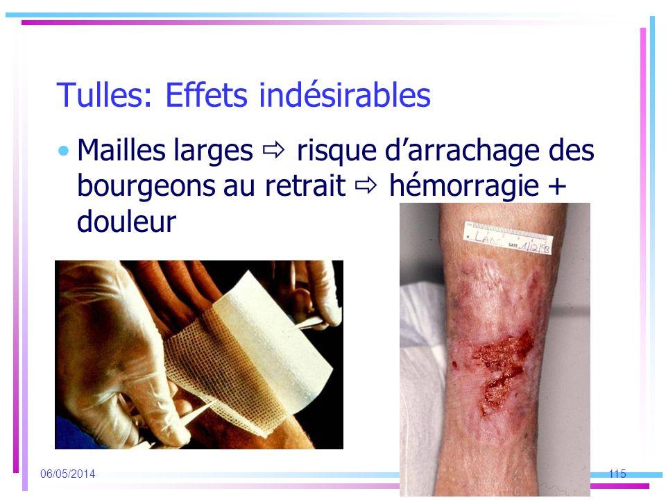 Tulles: Effets indésirables Mailles larges risque darrachage des bourgeons au retrait hémorragie + douleur 06/05/2014115