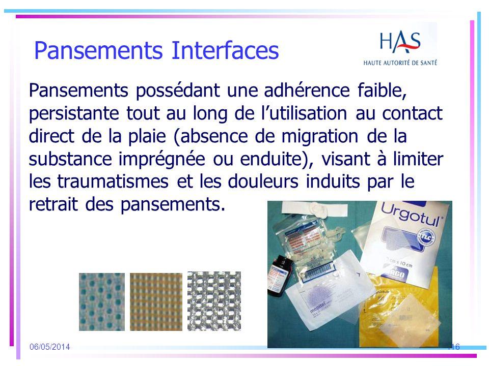 Pansements Interfaces Pansements possédant une adhérence faible, persistante tout au long de lutilisation au contact direct de la plaie (absence de mi