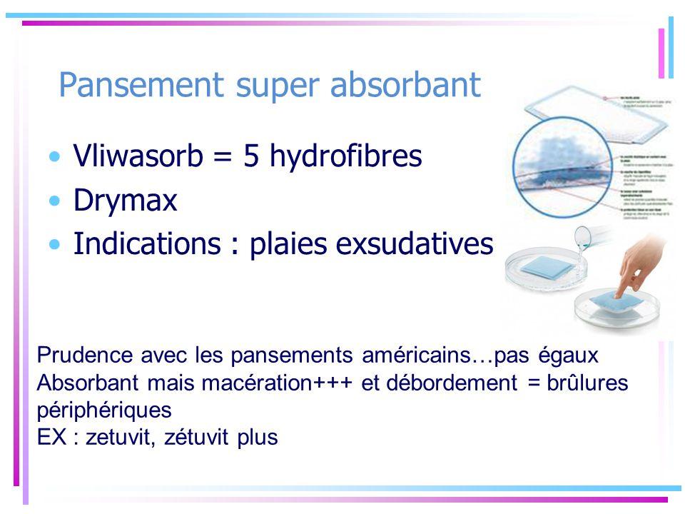 Pansement super absorbant Vliwasorb = 5 hydrofibres Drymax Indications : plaies exsudatives +++ Prudence avec les pansements américains…pas égaux Abso