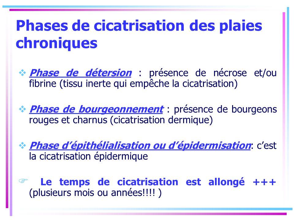 Phases de cicatrisation des plaies chroniques Phase de détersion : présence de nécrose et/ou fibrine (tissu inerte qui empêche la cicatrisation) Phase