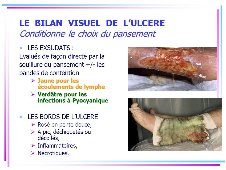 LE BILAN VISUEL DE LULCERE Conditionne le choix du pansement LES EXSUDATS : Evalués de façon directe par la souillure du pansement +/- les bandes de c