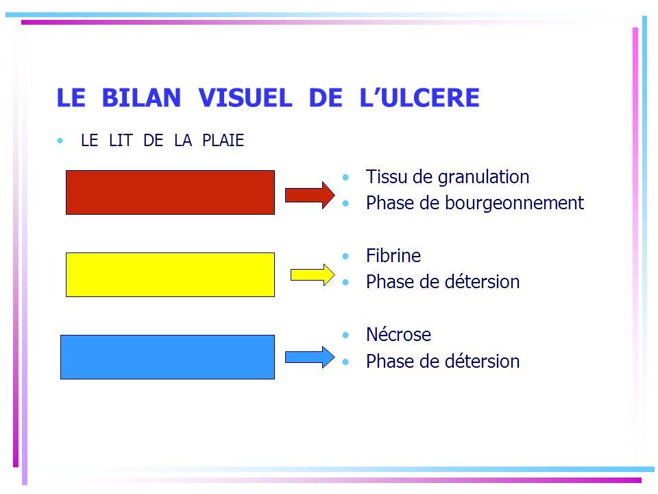 LE BILAN VISUEL DE LULCERE LE LIT DE LA PLAIE Tissu de granulation Phase de bourgeonnement Fibrine Phase de détersion Nécrose Phase de détersion