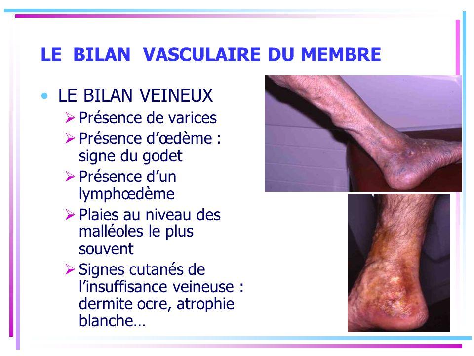 LE BILAN VASCULAIRE DU MEMBRE LE BILAN VEINEUX Présence de varices Présence dœdème : signe du godet Présence dun lymphœdème Plaies au niveau des mallé