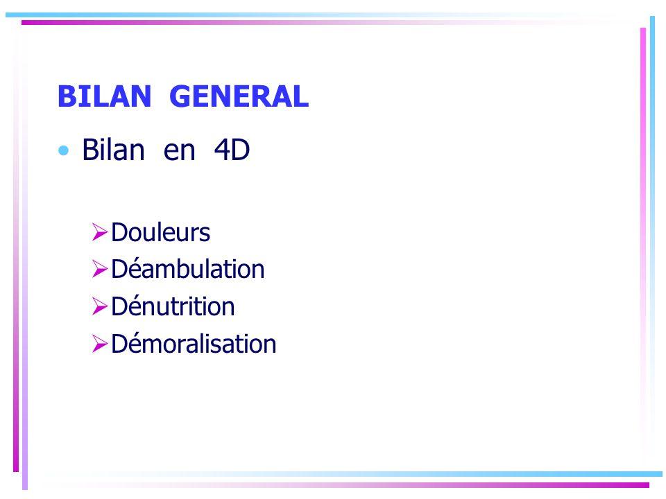 BILAN GENERAL Bilan en 4D Douleurs Déambulation Dénutrition Démoralisation