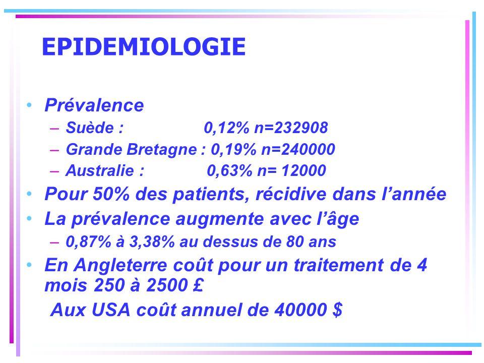 EPIDEMIOLOGIE Prévalence –Suède : 0,12% n=232908 –Grande Bretagne : 0,19% n=240000 –Australie : 0,63% n= 12000 Pour 50% des patients, récidive dans la