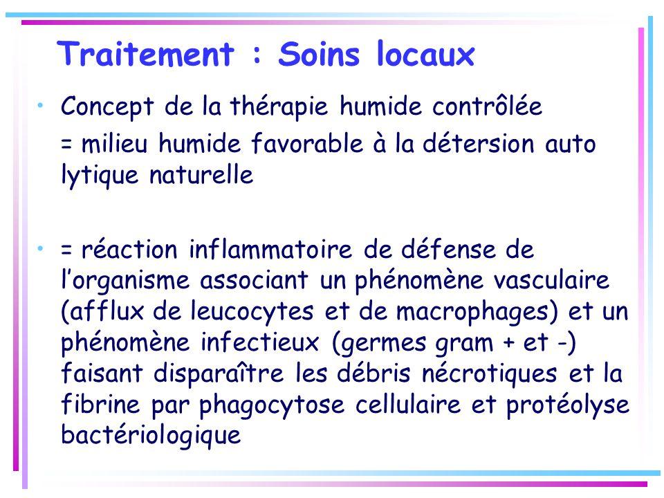 Traitement : Soins locaux Concept de la thérapie humide contrôlée = milieu humide favorable à la détersion auto lytique naturelle = réaction inflammat