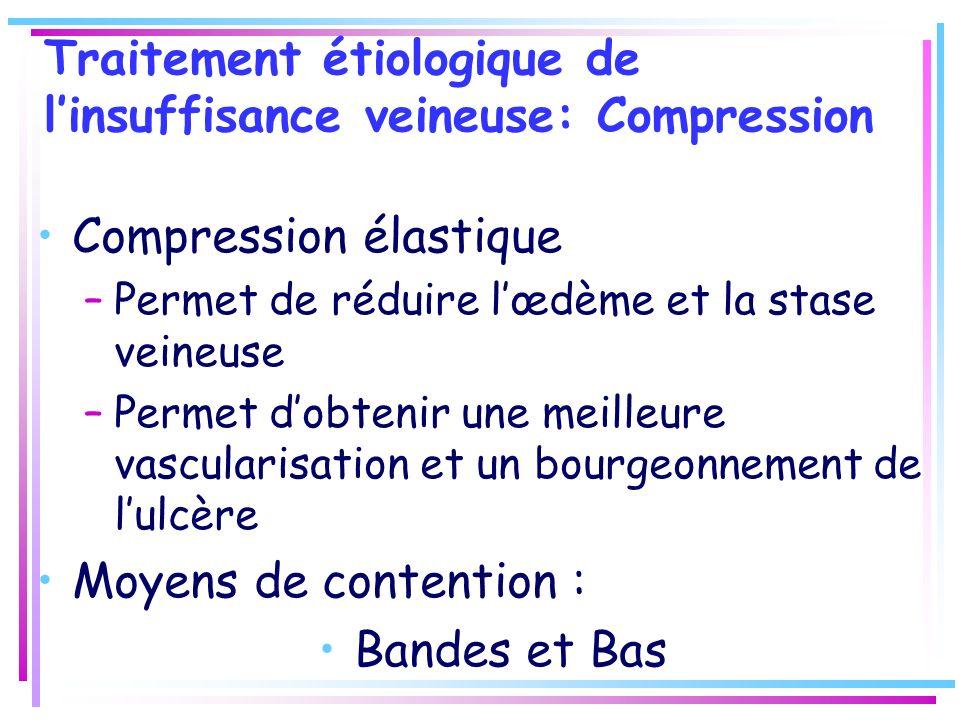 Traitement étiologique de linsuffisance veineuse: Compression Compression élastique –Permet de réduire lœdème et la stase veineuse –Permet dobtenir un