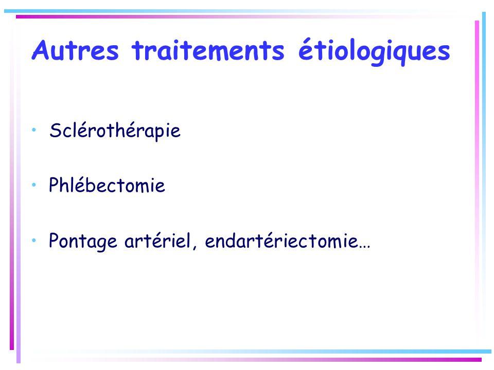 Autres traitements étiologiques Sclérothérapie Phlébectomie Pontage artériel, endartériectomie…