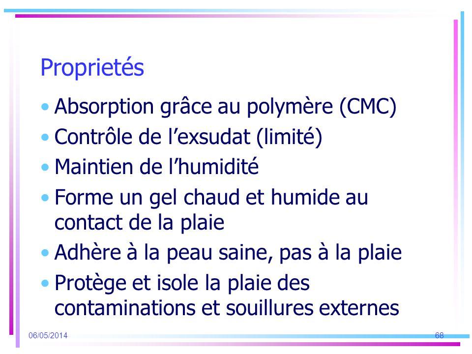 Proprietés Absorption grâce au polymère (CMC) Contrôle de lexsudat (limité) Maintien de lhumidité Forme un gel chaud et humide au contact de la plaie