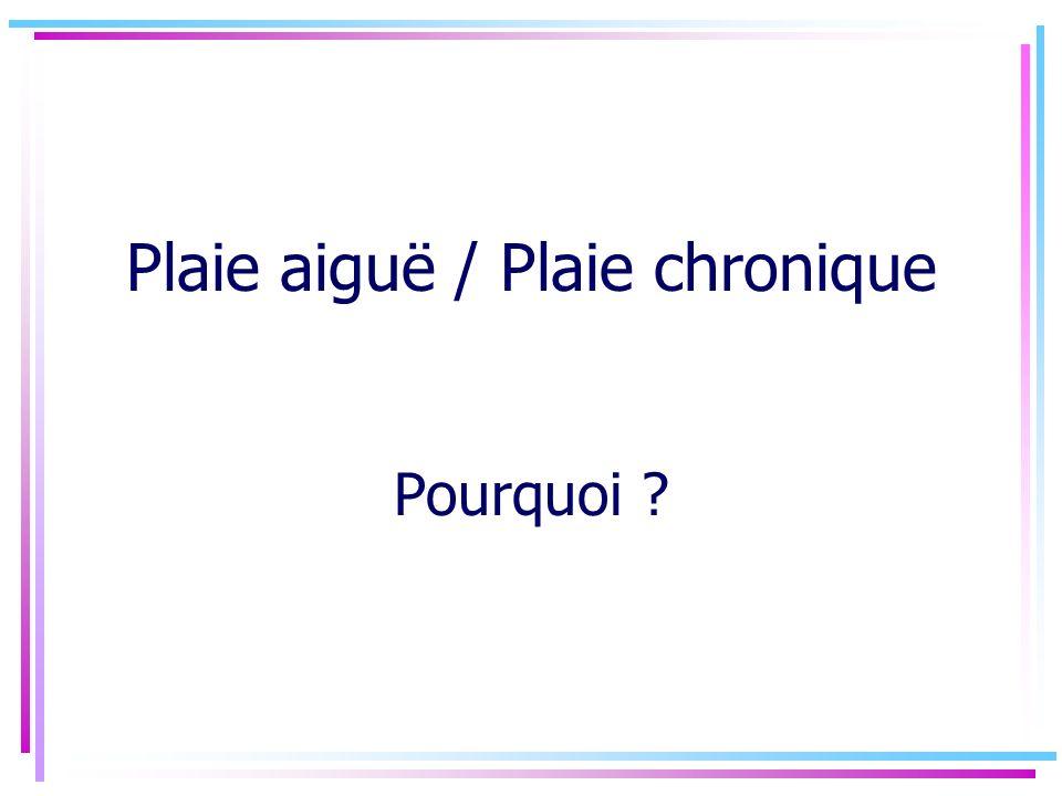 Plaie aiguë / Plaie chronique Pourquoi ?