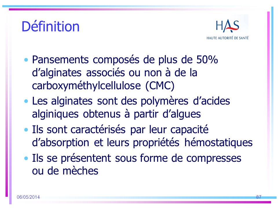 Définition Pansements composés de plus de 50% dalginates associés ou non à de la carboxyméthylcellulose (CMC) Les alginates sont des polymères dacides