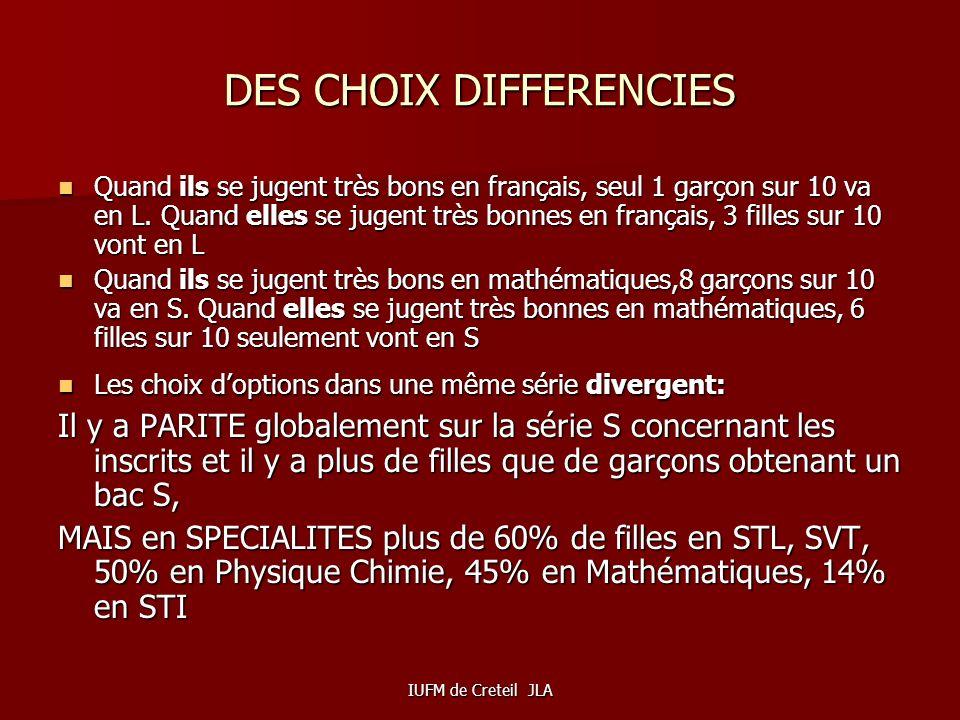IUFM de Creteil JLA Les différences dorientation FILLES/GARCONS Les différences dorientation 3e/2de entre filles et garçons « sont dues aux meilleurs