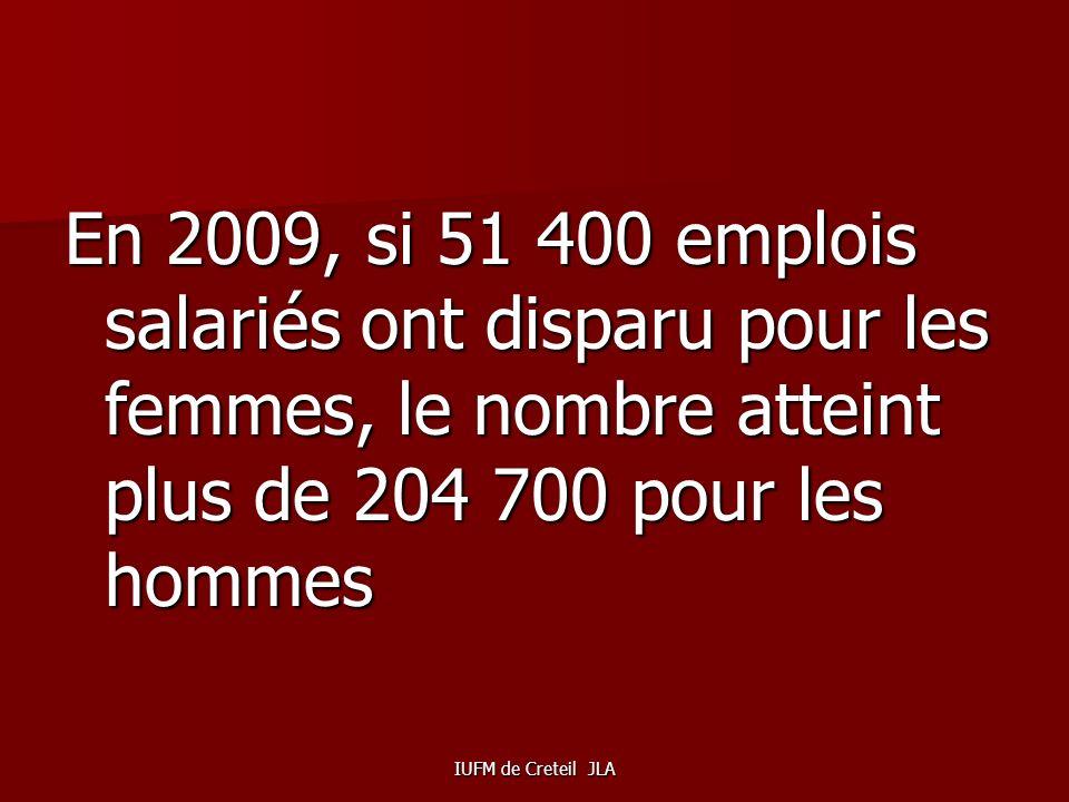 IUFM de Creteil JLA Compte tenu des emplois choisis ou occupés par les femmes ( plus demplois tertiaires, moins demplois industriels) la crise touche