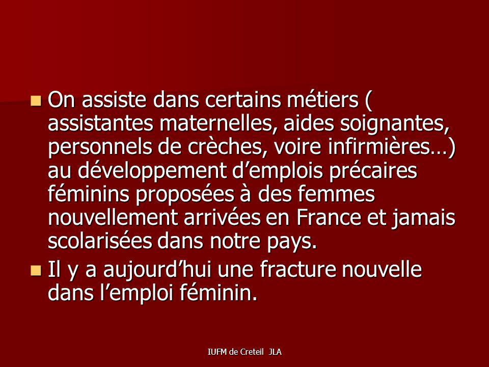 IUFM de Creteil JLA TOUJOURS DES EMPLOIS FEMININS PRECARISES Les filles scolarisées en France qui à près de 90% sont diplômées ne se dirigent plus auj