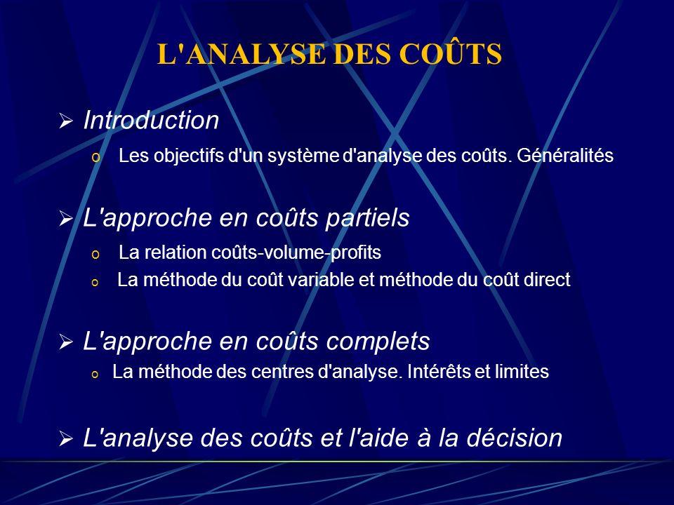 L APPROCHE EN COÛTS PARTIELS Le seuil de rentabilité La méthode du coût variable La méthode du coût direct L ANALYSE DES COÛTS