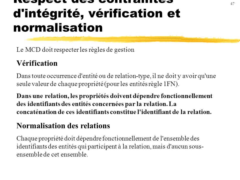 Respect des contraintes d intégrité, vérification et normalisation Le MCD doit respecter les règles de gestion Vérification Dans toute occurrence d entité ou de relation-type, il ne doit y avoir qu une seule valeur de chaque propriété (pour les entités règle 1FN).