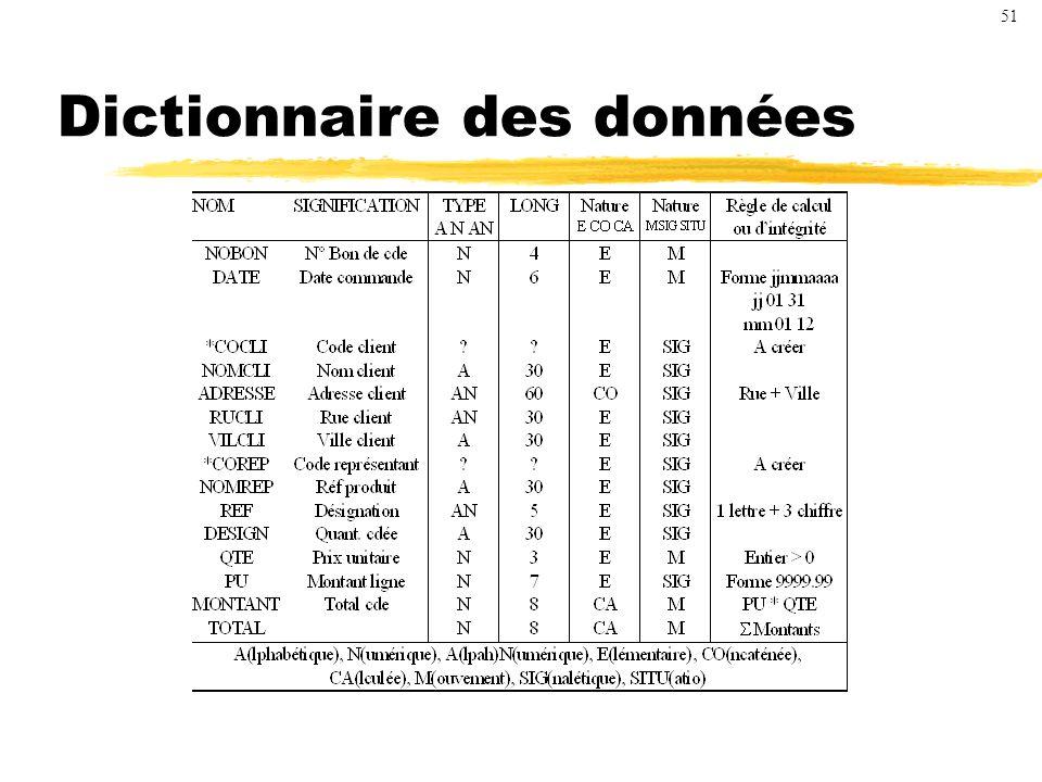 Dictionnaire des données 51
