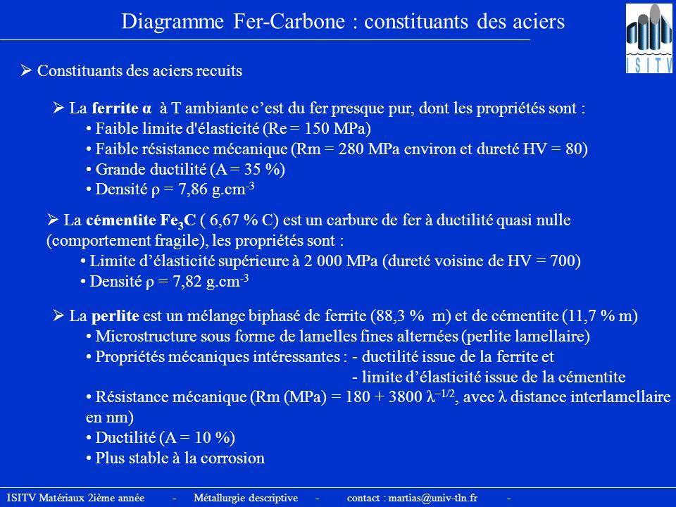 Diagramme Fer-Carbone : constituants des aciers Constituants des aciers recuits La ferrite α à T ambiante cest du fer presque pur, dont les propriétés