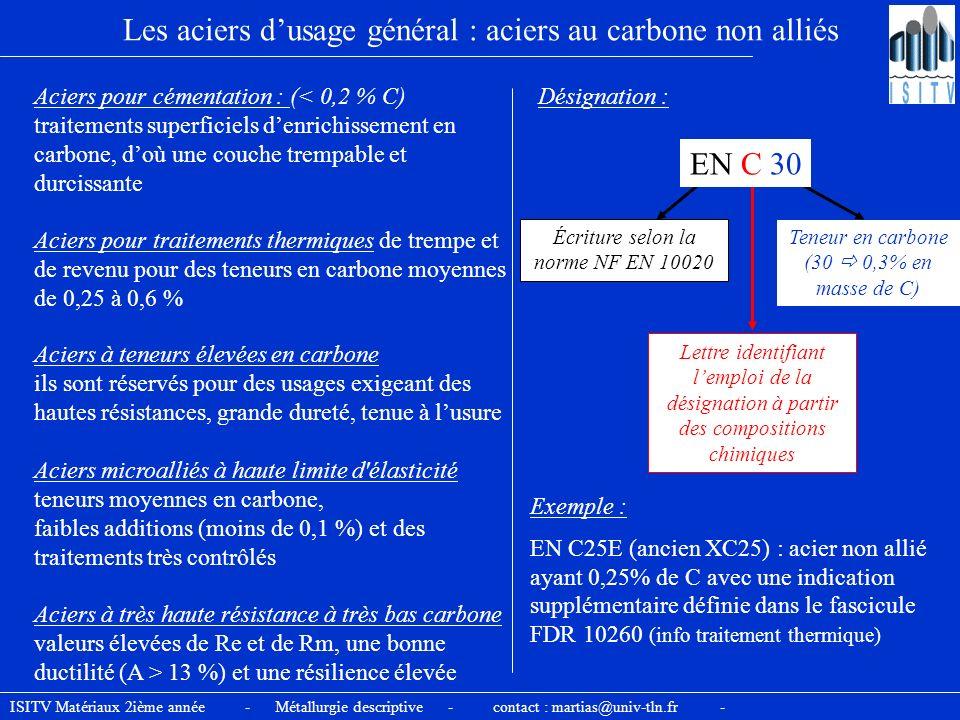 Les aciers dusage général : aciers au carbone non alliés Aciers pour cémentation : (< 0,2 % C) traitements superficiels denrichissement en carbone, do