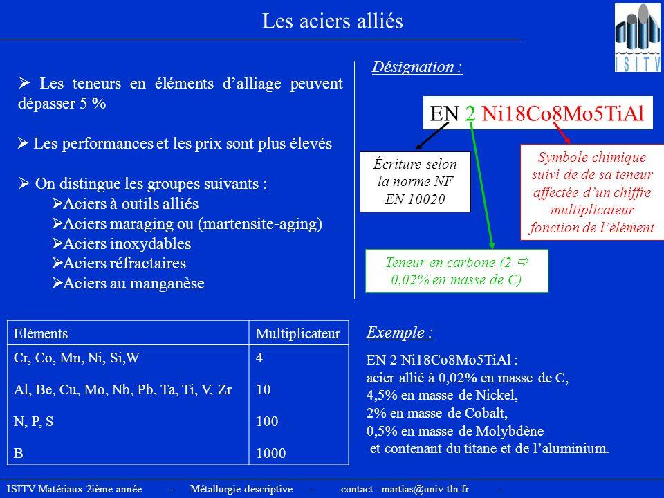 Les aciers alliés Les teneurs en éléments dalliage peuvent dépasser 5 % Désignation : EN 2 Ni18Co8Mo5TiAl Teneur en carbone (2 0,02% en masse de C) El