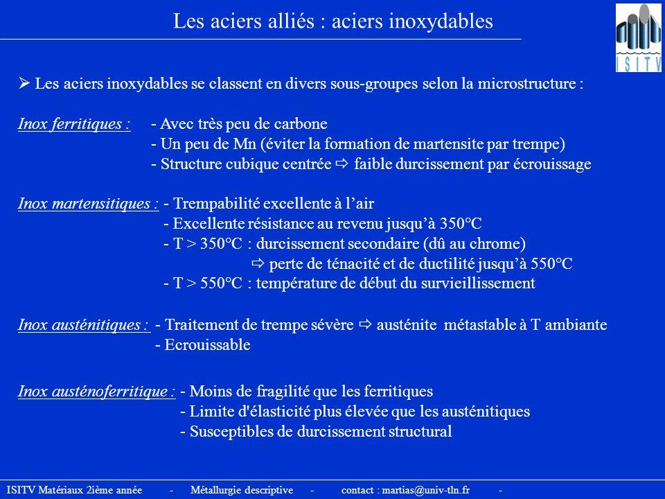 Les aciers alliés : aciers inoxydables Les aciers inoxydables se classent en divers sous-groupes selon la microstructure : Inox ferritiques : - Avec t