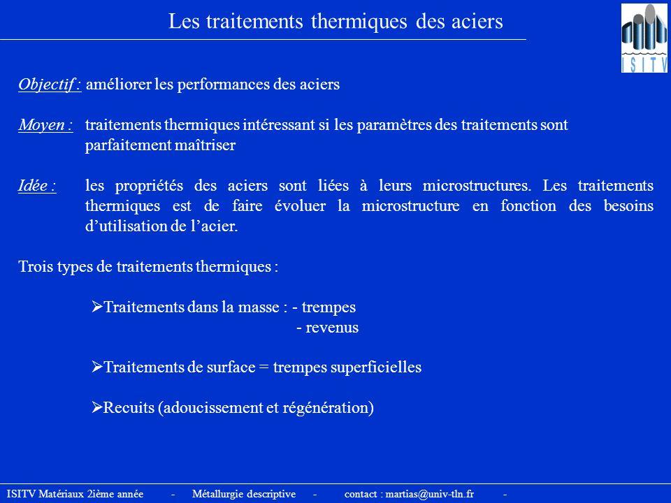 Les traitements thermiques des aciers Objectif : améliorer les performances des aciers Trois types de traitements thermiques : Moyen : traitements the