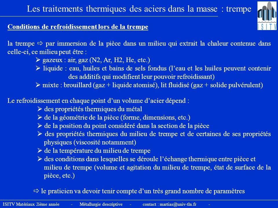 Les traitements thermiques des aciers dans la masse : trempe Conditions de refroidissement lors de la trempe la trempe par immersion de la pièce dans