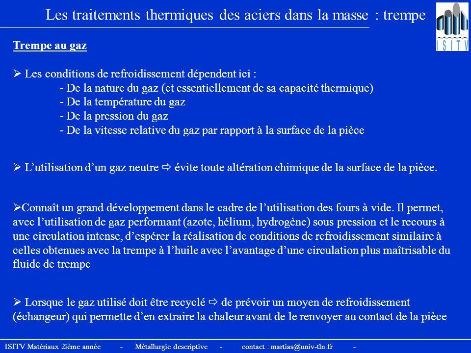 Les traitements thermiques des aciers dans la masse : trempe Trempe au gaz Les conditions de refroidissement dépendent ici : - De la nature du gaz (et
