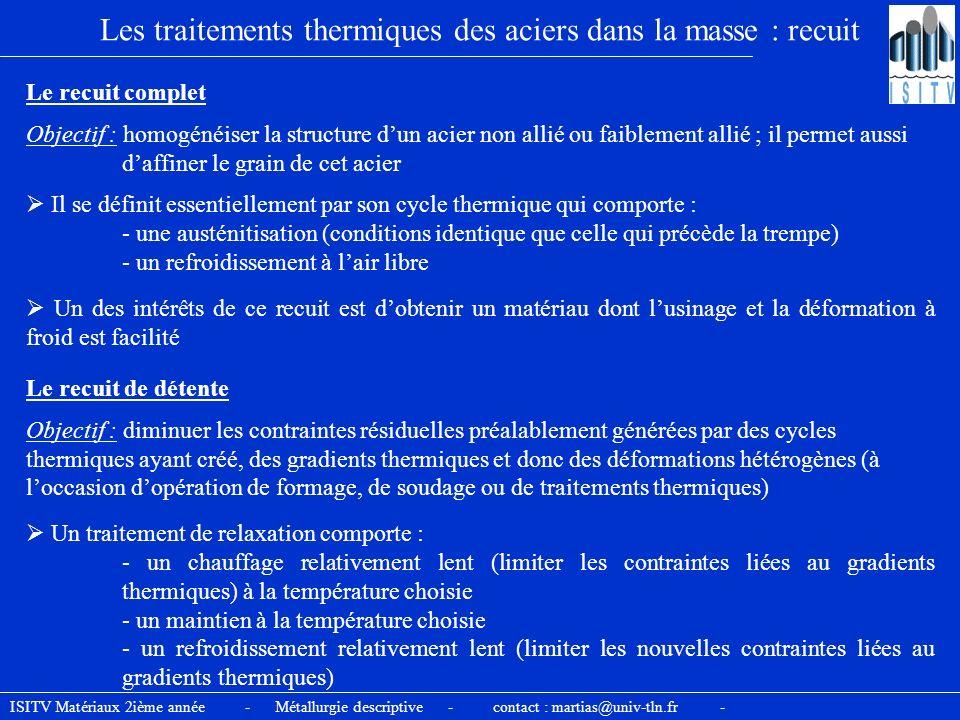 Les traitements thermiques des aciers dans la masse : recuit Il se définit essentiellement par son cycle thermique qui comporte : - une austénitisatio