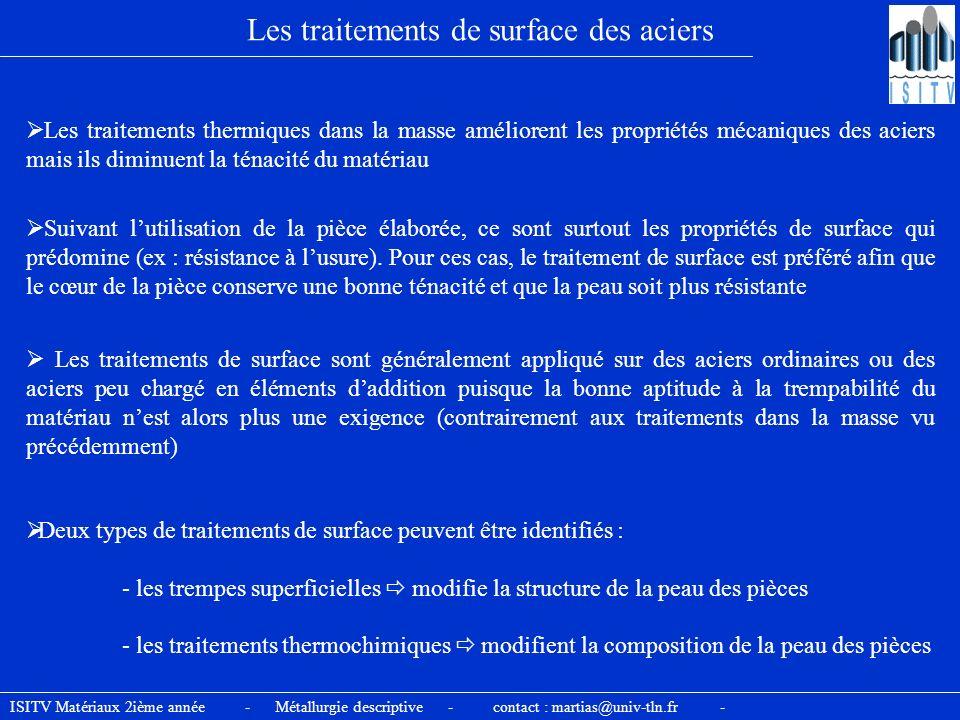 ISITV Matériaux 2ième année - Métallurgie descriptive - contact : martias@univ-tln.fr - Les traitements de surface des aciers Les traitements thermiqu