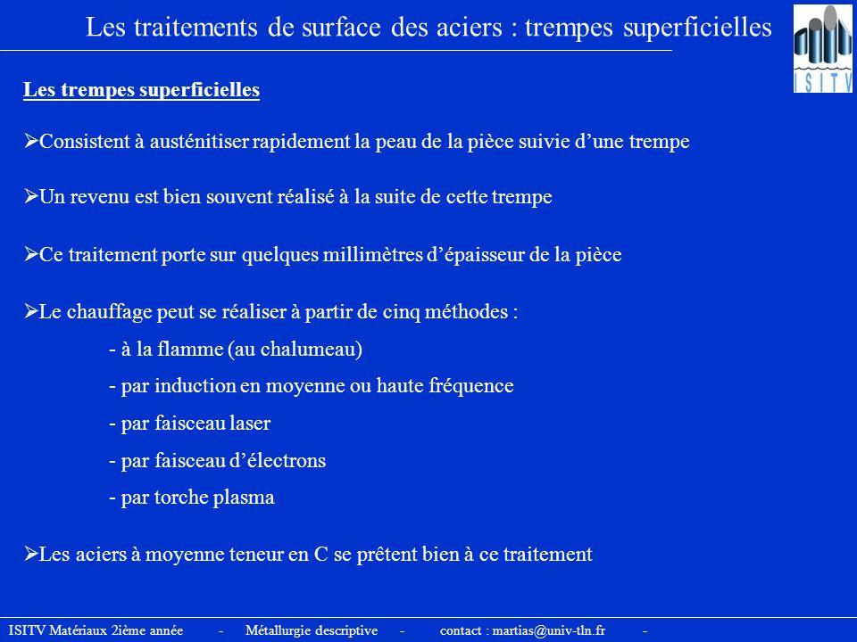ISITV Matériaux 2ième année - Métallurgie descriptive - contact : martias@univ-tln.fr - Les traitements de surface des aciers : trempes superficielles