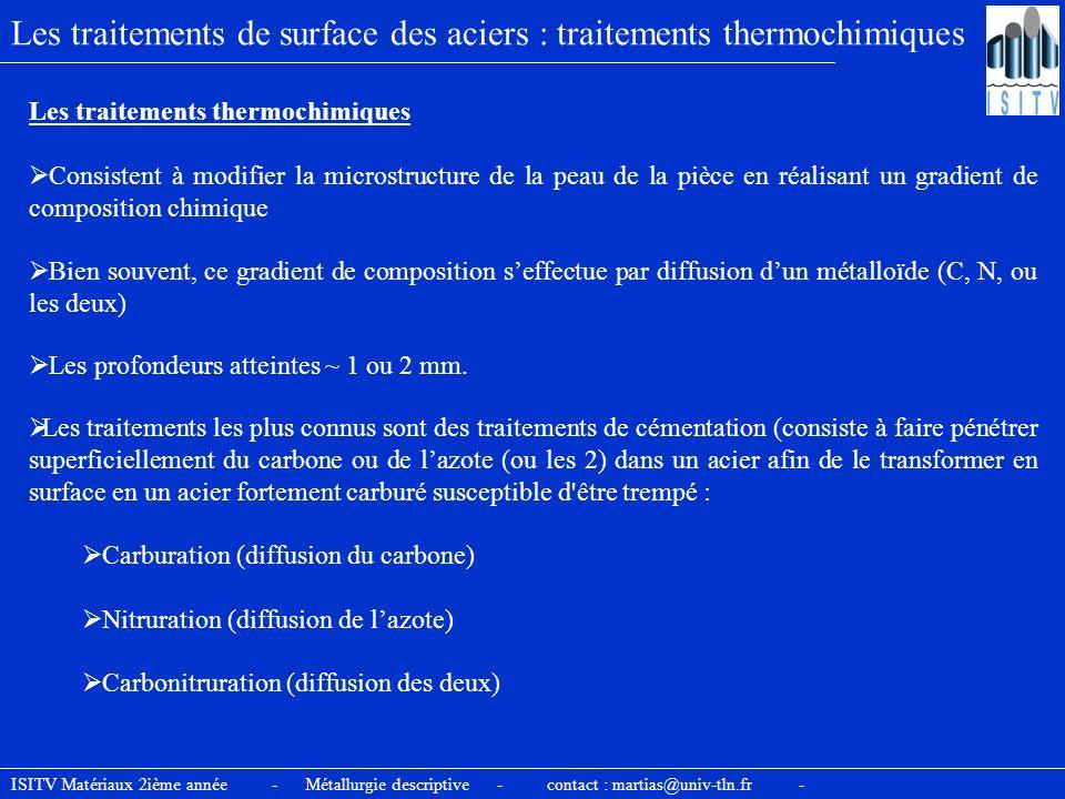Les traitements de surface des aciers : traitements thermochimiques Les traitements thermochimiques Consistent à modifier la microstructure de la peau