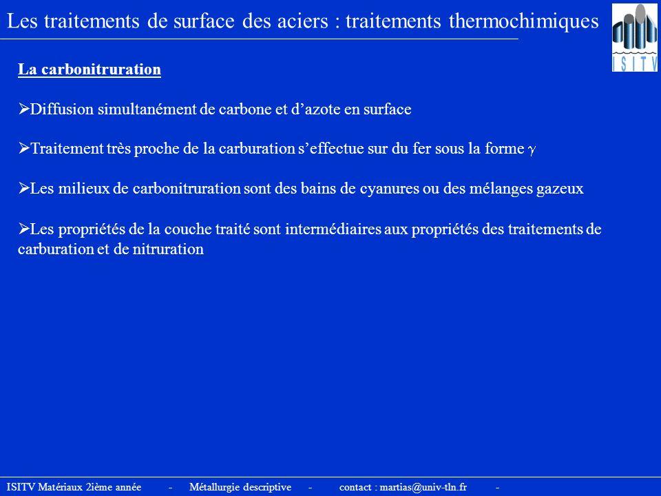 ISITV Matériaux 2ième année - Métallurgie descriptive - contact : martias@univ-tln.fr - Les traitements de surface des aciers : traitements thermochim
