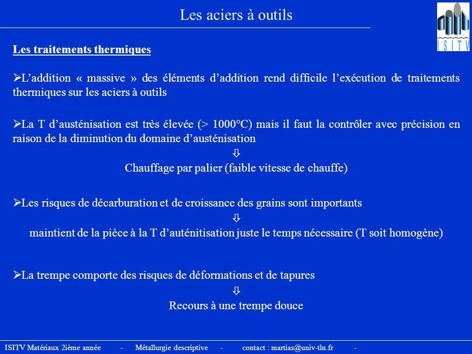 ISITV Matériaux 2ième année - Métallurgie descriptive - contact : martias@univ-tln.fr - Les aciers à outils Les traitements thermiques Laddition « mas