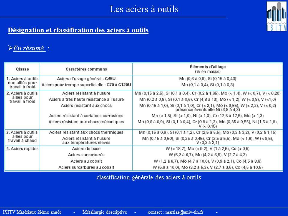 ISITV Matériaux 2ième année - Métallurgie descriptive - contact : martias@univ-tln.fr - Les aciers à outils Désignation et classification des aciers à