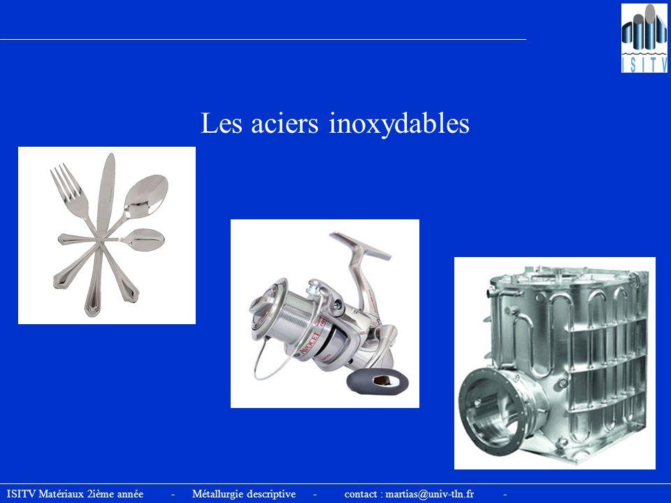 ISITV Matériaux 2ième année - Métallurgie descriptive - contact : martias@univ-tln.fr - Les aciers inoxydables