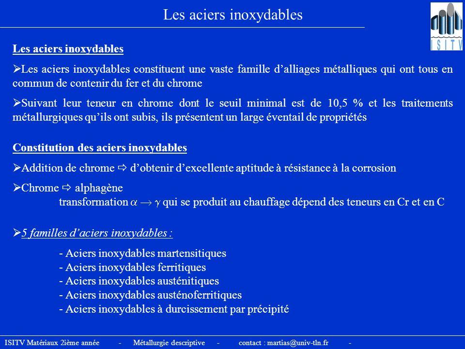 ISITV Matériaux 2ième année - Métallurgie descriptive - contact : martias@univ-tln.fr - Les aciers inoxydables Les aciers inoxydables constituent une