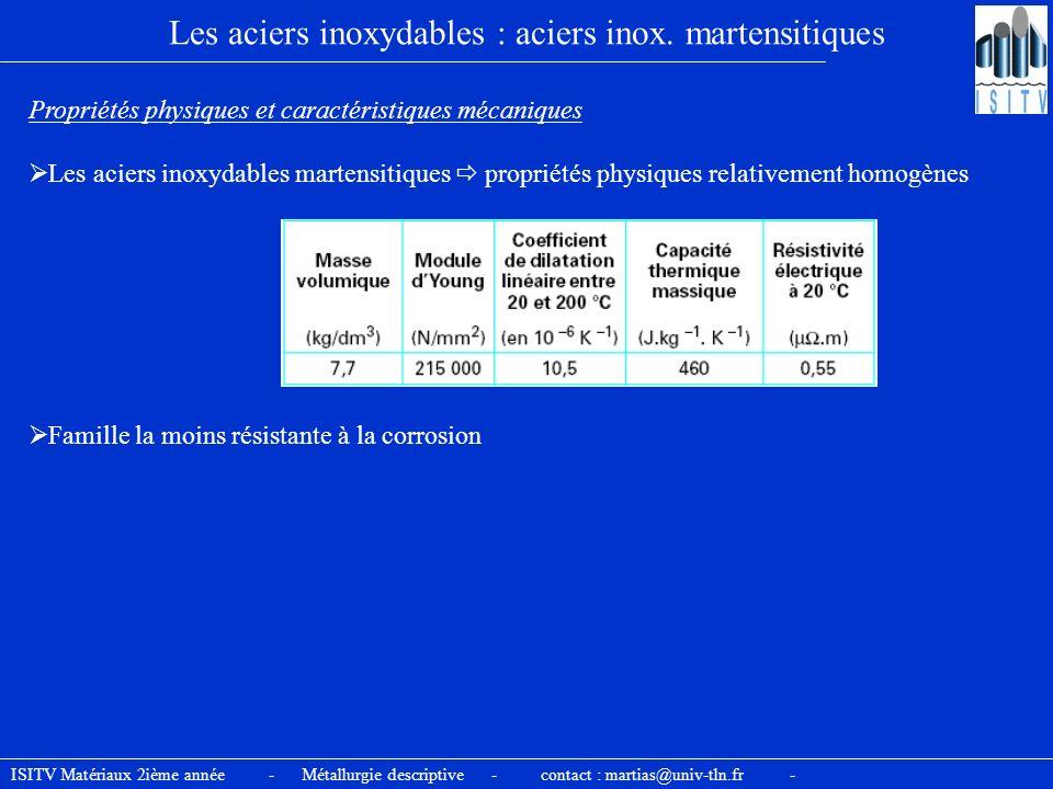ISITV Matériaux 2ième année - Métallurgie descriptive - contact : martias@univ-tln.fr - Les aciers inoxydables : aciers inox. martensitiques Propriété