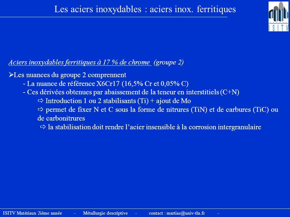 ISITV Matériaux 2ième année - Métallurgie descriptive - contact : martias@univ-tln.fr - Les aciers inoxydables : aciers inox. ferritiques Aciers inoxy