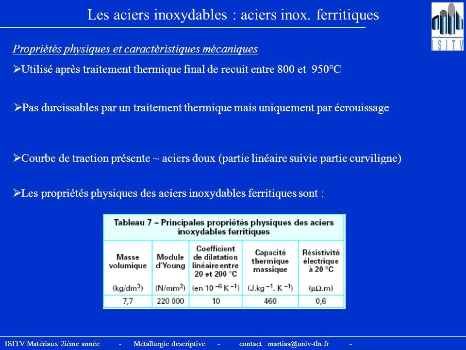 ISITV Matériaux 2ième année - Métallurgie descriptive - contact : martias@univ-tln.fr - Les aciers inoxydables : aciers inox. ferritiques Propriétés p